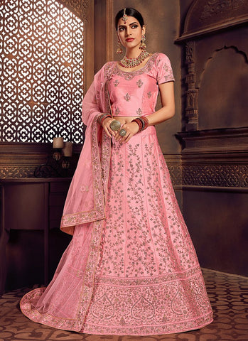 Pink Color Silk Women's Semi-Stitched Lehenga - RS2472