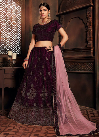 Purple Color Velvet Women's Semi-Stitched Lehenga - RS2473