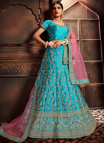 Turquoise Color Silk Women's Semi-Stitched Lehenga - RS2474