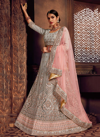 Grey Color Net Women's Semi-Stitched Lehenga - RS2475