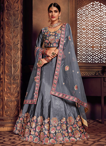 Grey Color Silk Women's Semi-Stitched Lehenga - RS2477