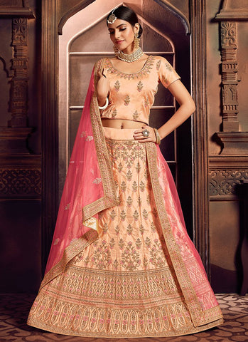 Peach Color Silk Women's Semi-Stitched Lehenga - RS2478
