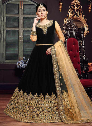 Black Color Velvet Semi Stitched Dress - RS2496