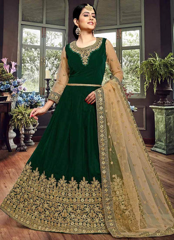 Green Color Velvet Semi Stitched Dress - RS2498