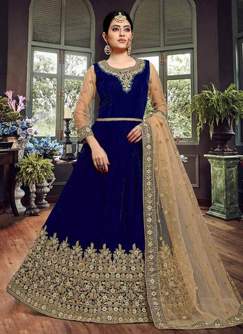 Royal Blue Color Velvet Semi Stitched Dress - RS2499