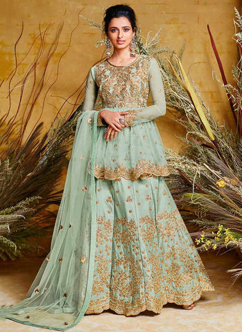 Blue Color Net Silk Stitched Dress - RS2502