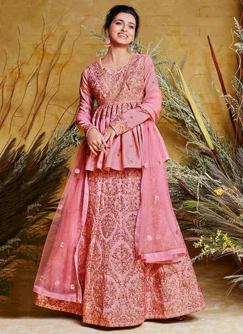 Pink Color Net Silk Stitched Dress - RS2503