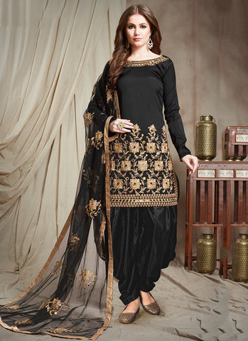 Black Color Tafetta Silk Semi Stitched Patiala Salwar Suit - RS2506