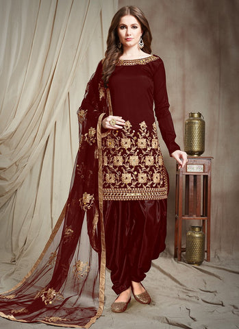 Maroon Color Tafetta Silk Semi Stitched Patiala Salwar Suit - RS2507