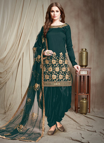 Green Color Tafetta Silk Semi Stitched Patiala Salwar Suit - RS2508