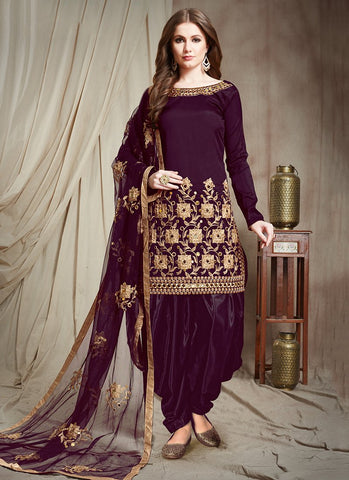 Purple Color Tafetta Silk Semi Stitched Patiala Salwar Suit - RS2509