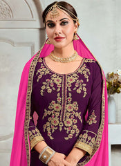 Magenta Color Georgette Semi Stitched Palazzo Salwar Suit - RS2511