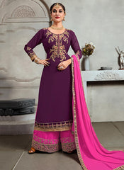 Buy Magenta Color Georgette Semi Stitched Palazzo Salwar Suit