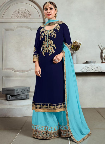 Navy Blue Color Georgette Semi Stitched Palazzo Salwar Suit - RS2512