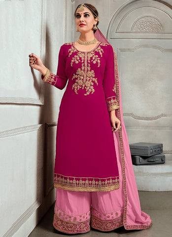 Pink Color Georgette Semi Stitched Palazzo Salwar Suit - RS2513