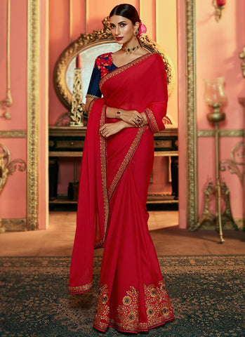 Red Color Silk Women's Saree - RS2519