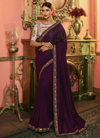 Wine Color Kashmiri Silk Women's Saree - RS2521