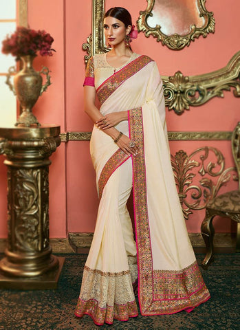 Cream Color Dola Silk Women's Saree - RS2522