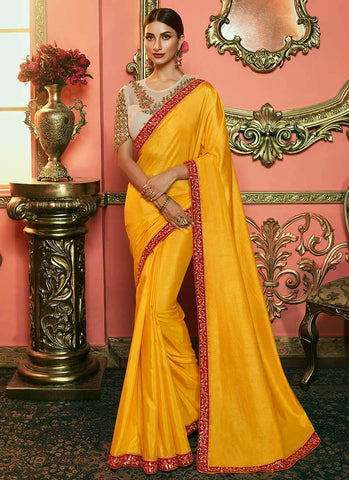 Mustard Color Dola Silk Women's Saree - RS2526