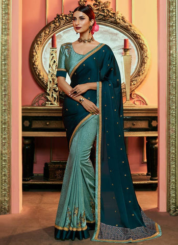 Cobalt Blue Color Satin Silk Women's Saree - RS2527