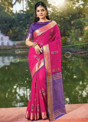 Pink Color Cotton Handloom Women's Saree - RS2556