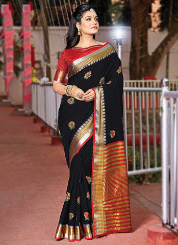 Black Color Cotton Handloom Women's Saree - RS2557