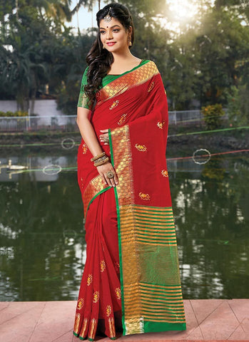 Red Color Cotton Handloom Women's Saree - RS2558