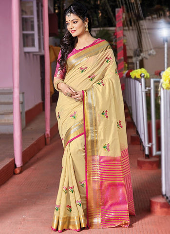 Cream Color Cotton Handloom Women's Saree - RS2560
