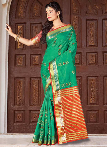 Turquoise Color Cotton Handloom Women's Saree - RS2562