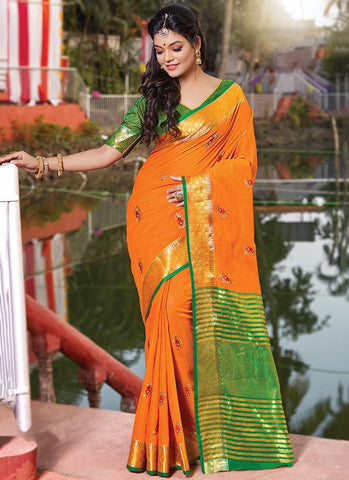 Mustard Color Cotton Handloom Women's Saree - RS2563