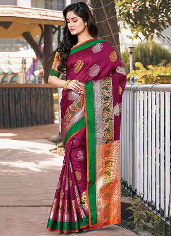 Maroon Color Handloom Silk Women's Saree - RS2564