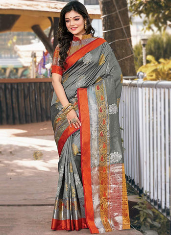 Grey Color Handloom Silk Women's Saree - RS2565