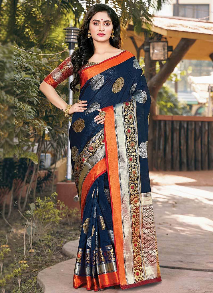Buy Navy Blue Color Handloom Silk Women's Saree