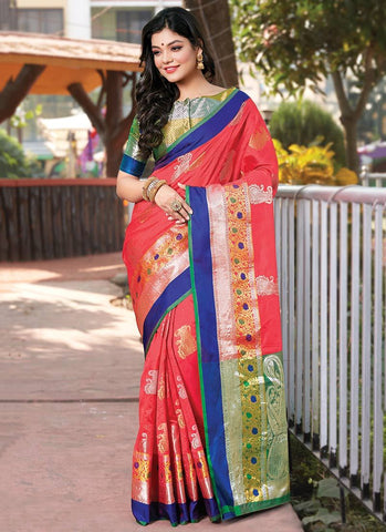 Peach Color Handloom Silk Women's Saree - RS2567