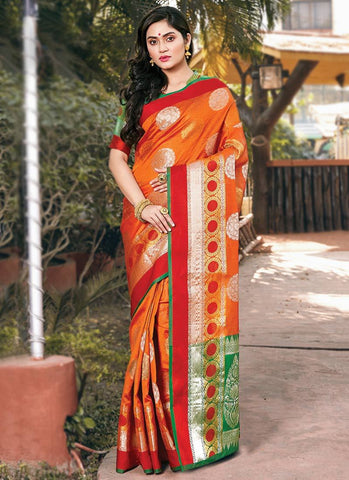 Mustard Color Handloom Silk Women's Saree - RS2568