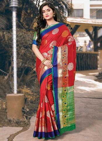 Red Color Handloom Silk Women's Saree - RS2569