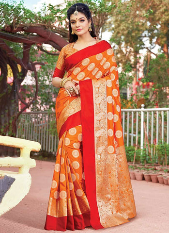 Orange Color Silk Women's Saree - RS2570