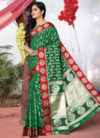 Green Color Silk Women's Saree - RS2573