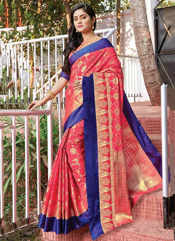 Pink Color Silk Women's Saree - RS2574