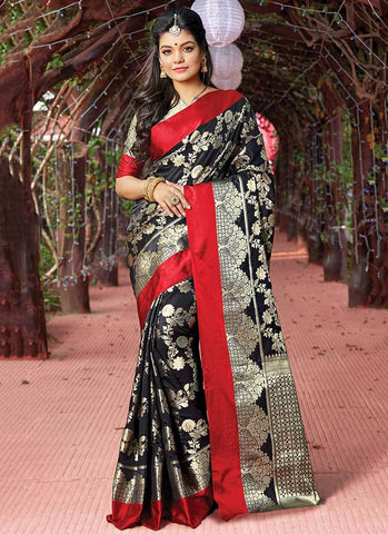Black Color Silk Women's Saree - RS2575