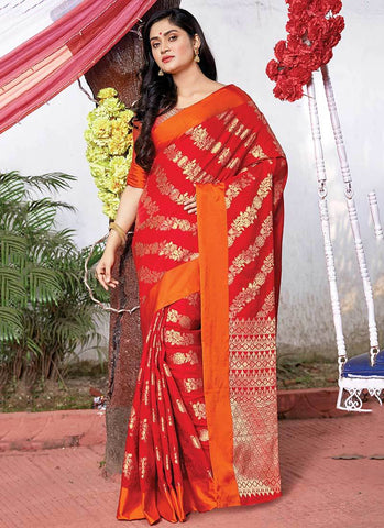 Red Color Silk Women's Saree - RS2576