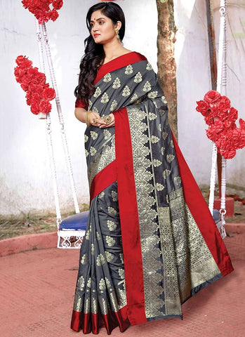 Grey Color Silk Women's Saree - RS2577