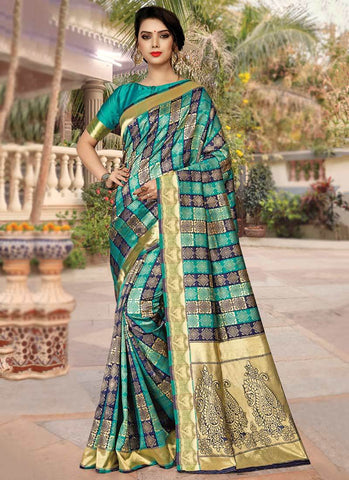 Sea Green Color Silk Women's Saree - RS2579