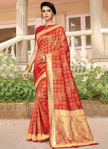 Red Orange Color Silk Women's Saree - RS2580
