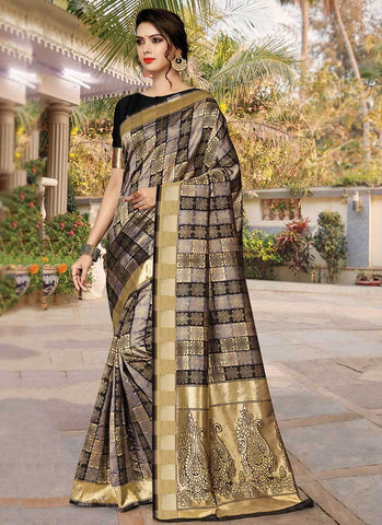 Black Color Silk Women's Saree - RS2581