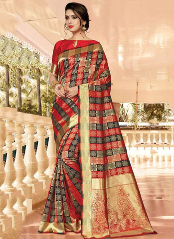 Black Red Color Silk Women's Saree - RS2582