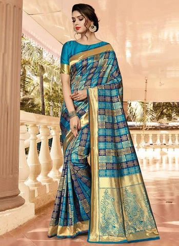 Teal Color Silk Women's Saree - RS2583