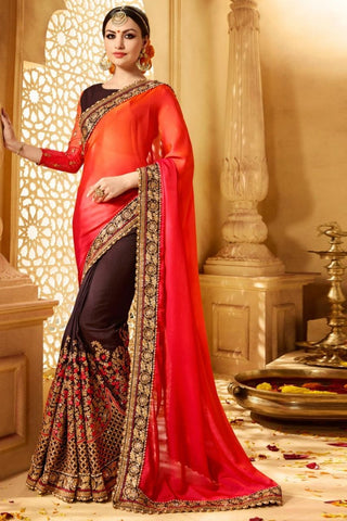 Red and Brown Color Major Georgette Saree RT-00319
