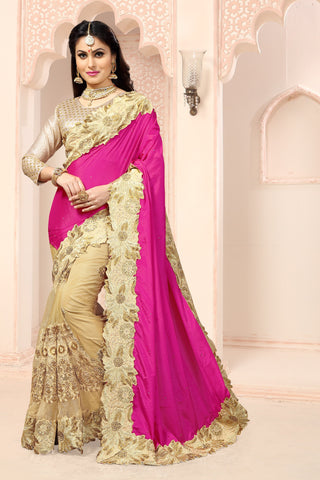 Pink Color Satin Chiffon and Net Saree - RT-008936