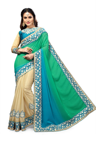 Blue and Beige Color Georgette and Lycra Saree - RT-009078